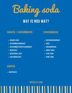 Baking soda: wat is nou wat? Baking Soda, Printables, Dutch, Food, Cleaning, Dutch People, Print Templates, Dutch Language, Meals