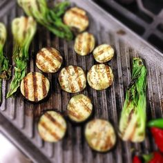 Grilled Eggplant and Baby Bok Choy