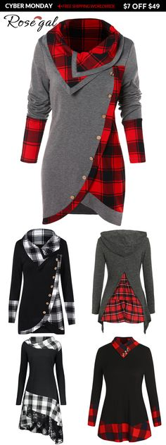 Rosegal Winter fashion ideas plaid Tartan Panel Long Sleeve Asymmetrical T-shirt hoodies, Winter Outfits, Casual Outfits, Work Outfits, Outfits 2016, Party Outfits, Holiday Outfits, Ladies Dress Design, Shirt Style, Ideias Fashion