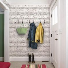 Brick peel & stick fabric wallpaper. This repositionable wallpaper is designed and made in our studios in New Jersey. The designs are printed onto an adhesive backed fabric that can be removed, reposi