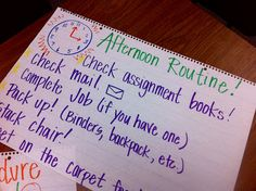 I have a morning routine anchor chart and...duh!  Afternoon routine would help too!