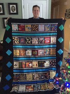 Scrappy, I Spy, film strip, movie themed quilt for my new son in law.