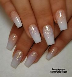 All acrylic nails design allacrylic coloracrylic ombrenails Cute Acrylic Nails, Cute Nails, Pretty Nails, My Nails, Wedding Acrylic Nails, Acrylic Ombre Nails, Ombre Nail Art, Acrylic Nail Designs Glitter, Glitter Wedding Nails