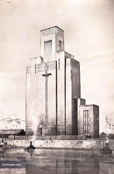 Art Deco architects drawing of ventilation tower. Art Nouveau Architecture, Architecture Drawings, Historical Architecture, Architecture Design, Bauhaus, Architect Drawing, Big Building, Art Deco Buildings, Art Deco Design