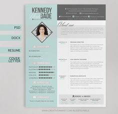 Resume CV & Cover Letter Template by Blissful Pixels on @creativemarket