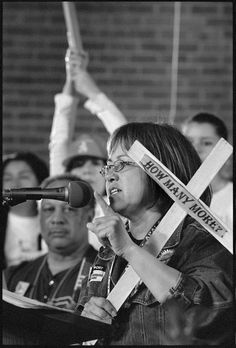 Maria Durazo (1953-) learned the hardships of labor in the fields with her Mexican immigrant parents. She became a dynamic union organizer, served as leader of the Hotel and Restaurant Workers Union, and joined the Executive Council of AFL-CIO. Standing with her community, she protested low wages, dangerous working conditions, and deaths of immigrant workers. (Photograph by Peter Holderness) Hispanic American, American Women, History Images, Women In History, Workers Union, Hispanic Heritage Month, History Museum, Social Issues, Powerful Women