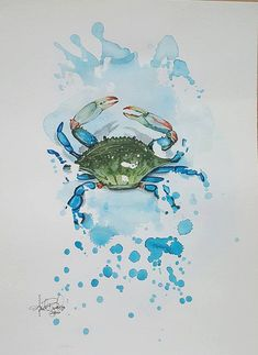 Another piece inspired by the coastline in North Carolina where I grew up. A beautiful blue crab that looks like it just walked onto the paper. A Rorschach inspired piece painted with watercolor and color pencil.