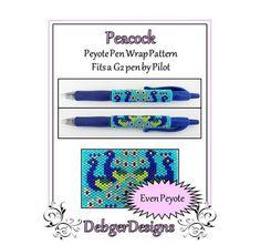 Peacock G2 Pen Wrap-Beaded Flat Peyote Pattern