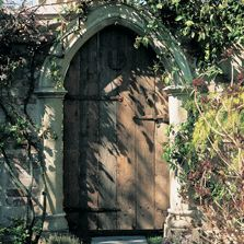 The Gothic Arch doorway for use in the tower and garden folly.  Redwood Stone is the maker.