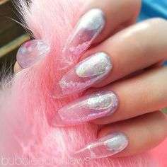 Aquarium Nails Glitter Acrylics, Glitter Nails, Acrylic Nails, Aquarium Nails, Water Nails, Manicure And Pedicure, Pedicures, Nail Room, Kawaii Nails
