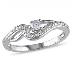 10k White Gold I2-I3 Diamond Ring, 1/7 ctw