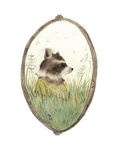 "Raccoon art, ""Loretta"" archival art print, nature, nursery decor, woodland, raccoon watercolor, gold, green on Etsy, $20.00"