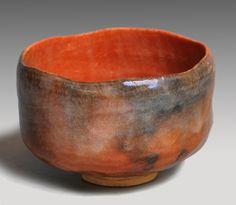 数印 赤楽茶碗 十二代 弘入(作) 共箱 red Raku bowl