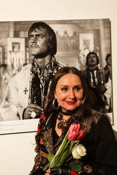 "Honoured Ukrainian beauty and leading actress of ""Shadows of Forgotten Ancestors"" Larisa Kadochnilova with the portrait of her film partner, famous actor Ivan Mykolaichuk who died years ago #interdema #exhibition #art #SergeiParajanov #ShadowsofForgottenAncestors #Kyiv #Ukraine"