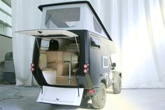 The Action Camper is a drop-in camper that turns your rugged, all-terrain Jeep Wrangler into a go-anywhere RV. The pop-up allows two adventurous souls to explore the vast wilds and enjoy sleeping, sitting, cooking and bathroom use within the confines of their vehicle, wherever they wish to stop