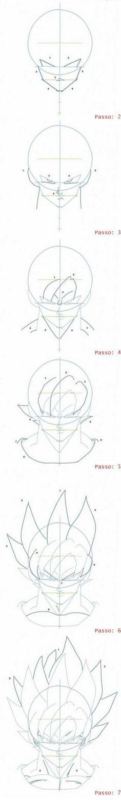 Olá galera hoje trago para vocês o passo a passo como desenhar o rosto de goku SSJ, espero que gostem, pois esta realmente super detalha...