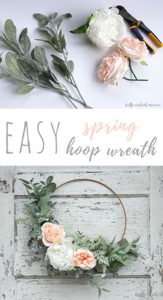 DIY floral wreath for front door, flower wreath for nursery decor, or girl beroom decor Make an easy spring hoop wreath using greens and faux flowers. Just tie and glue the stems in place to create a beautiful wreath for any time of year. Pot Mason Diy, Mason Jar Crafts, Diy Décoration, Easy Diy, Diy Crafts, Simple Diy, Sell Diy, Adult Crafts, Creative Crafts