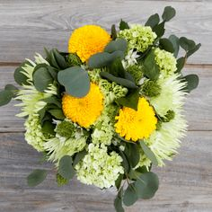 Envy | A Yellow and Green Mixed Flower Bouquet| Everybody is talking about this Bouq! It's full of the freshest flowers and has lovely colors that go in almost any vase. Available for free delivery all across the USA! Our flowers ship direct from eco-friendly, sustainable farms on a Volcano to your recipient's door.