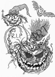 """Malvorlage Zentangles ZENZIA """"HALLOWEEN 1"""" made by BRI download - doodle - adult von brisartbri auf Etsy"""