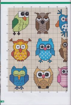 Owl cross stitch patterns part 2
