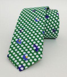Green Floral Dotted Mens Tie 5 cm (1,97 #handmadeatamazon #nazodesign