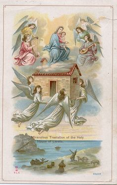 Vintage holy card of Our Lady of Loretto Divine Mother, Blessed Mother Mary, Blessed Virgin Mary, Catholic Art, Catholic Saints, Religious Images, Religious Art, Bernadette Of Lourdes, Prayer Images
