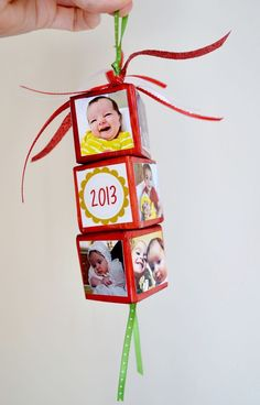 Create festive, personalized DIY photo Christmas ornaments using your favorite pictures, wood blocks and Mod Podge. These homemade ornaments make awesome gifts! For fun kids, too. via @modpodgerocks
