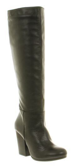 Office GENERAL KNEE BOOT BLACK LEATHER Shoes - Womens Knee Boots Shoes - Office Shoes
