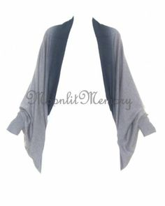Cocoon Batwing Cardigan Sweater in warm gray with a distinctive dip-dyed blue edging. Lagenlook top. By Garnet Hill. Offered by moonlitmemory on eBay.
