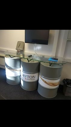 Recycled oil drum. Oil drum table. Oil drum counter