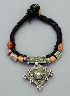 Morocco | Necklace; coral, silver with enamel, carnelian, old glass Venetian African trade beads, leather | African Museum (Belgium) Collection; acquired 1994