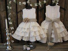 Off white linen flower girl - toddler ruffle dress - linen dress for girls - Country rustic wedding