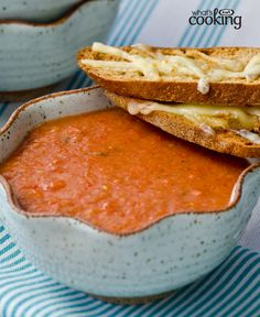 Roasted Tomato Soup with Cheesy Croutes #recipe