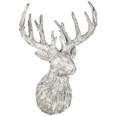 Parlane Christmas Ornament Reindeer Head Rudolph White Height 81cm ($200) ❤ liked on Polyvore featuring home, home decor, holiday decorations, white xmas ornaments, holiday reindeer decorations, deer christmas ornaments, christmas home decor and reindeer christmas tree ornaments