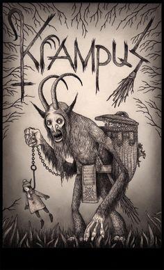 John kenn - Illustration - Monster - Image of Krampus Arte Horror, Horror Art, Creepy Art, Scary, Don Kenn, Der Joker, Monster Drawing, Arte Obscura, Drawn Art