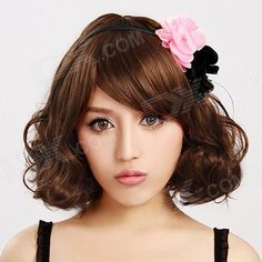 Finding Color FCWG-004 Fashionable Lady's Diagonal Bangs Short Curly Hair Wig - Brown