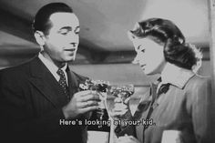 """""""Here's looking at you kid"""" Rick Casablanca gif 