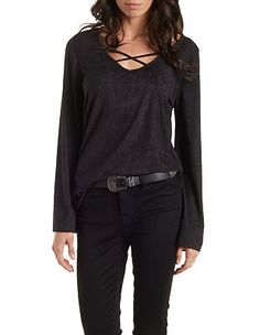 Caged Neckline Faux-Suede Swing Top: Charlotte Russe