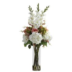 Nearly Natural Giant Mixed Floral Arrangement/ Vase (Giant Mixed Floral Arrangement - White) (Plastic) Water Flowers, Flower Petals, Flowers Garden, Faux Flowers, Silk Flowers, Colorful Flowers, Spring Flowers, Silk Floral Arrangements, Floral Centerpieces