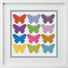 BUTTERFLY CROSS STITCH PATTERN Modern Cross Stitch With 12 gorgeous Multi coloured Butterflies. Perfect for a girls room. PATTERN INFORMATION  Stitches: 108 W x 100 H On 14 count 8 x 8 in ( 20 x 18 cm ) On 18 count 6 x 6 in ( 15 x 14 cm ) On 20 count 6 x 5 in ( 14 x 13 cm ) On