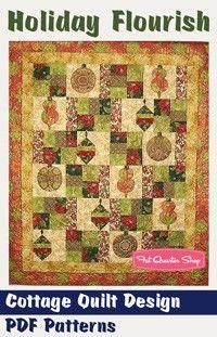 Holiday Flourish Downloadable PDF Quilt PatternCottage Quilt Design