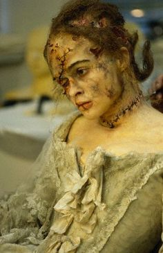 Helena Bonham Carter in Frankenstein    AHHHHHH!!!!!!!!!!!!!! Wonderful wound makeup as well as decay. Great color pallet and sense of time period. An advanced project for sure but very well done!