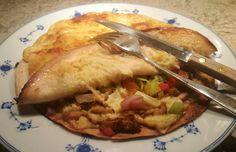 Lettvint tortillasnadder for 2 1 med kylling 1 med skinke 1/2 rød paprika 1/2 grønn paprika ...