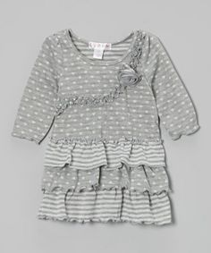 Take a look at this Heather Gray Ruffle Tiered Tunic - Toddler & Girls by Lily Cake on #zulily today!