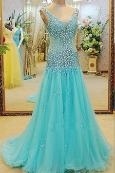 Sexy See Through Ruffles Crystal Beaded Long Prom Dresses Custom Made Sheer Tull Luxury Mermaid Evening Dresses Prom Gowns Best Evening Dresses, Prom Dresses 2016, A Line Prom Dresses, Mermaid Evening Dresses, Cheap Prom Dresses, Party Dresses, Prom Gowns, Formal Dresses, Evening Gowns