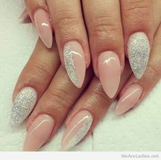 Lovely colors, silver glitter and light pink nail polish base
