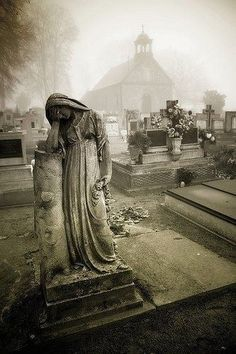 Cemetery statue in fog Cemetery Angels, Cemetery Statues, Cemetery Headstones, Old Cemeteries, Cemetery Art, Angel Statues, Graveyards, Cemetery Monuments, Belle Photo
