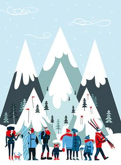 Veronica Grech American Illustration 33 by Purple Rain Illustrators, via Behance Art And Illustration, Mountain Illustration, Christmas Illustration, American Illustration, People Illustration, Old Posters, Posters Vintage, Photo Vintage, Vintage Ski