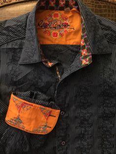 Men ROBERT GRAHAM Blue Large Striped Design Shirt  L/S #RobertGraham #ButtonFront