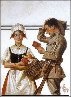 """Soldier and the French Girl"" (c. 1918) by J.C. Leyendecker."